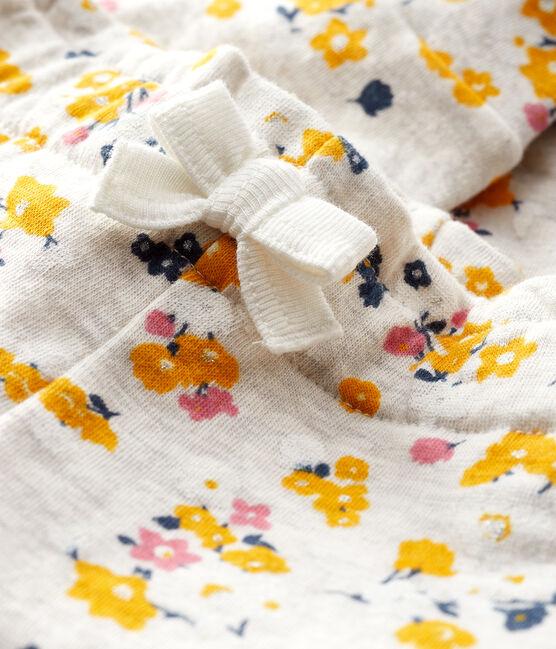 Pantalone bebè femmina in tubique beige Montelimar / bianco Multico