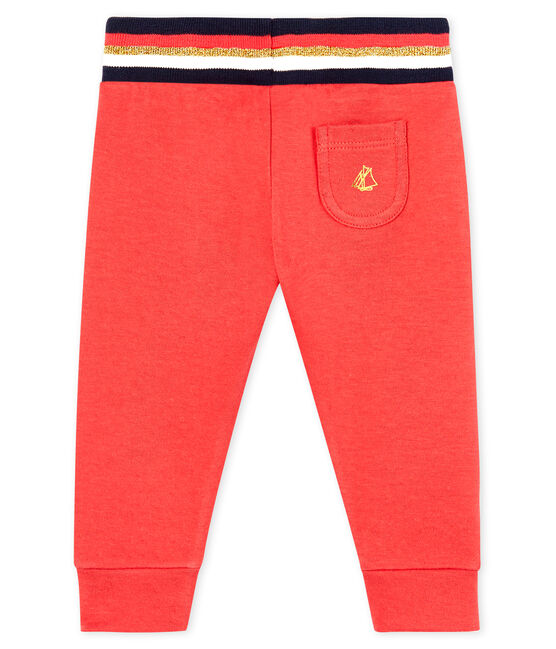 Pantalone bebè femmina in tubique rosso Signal