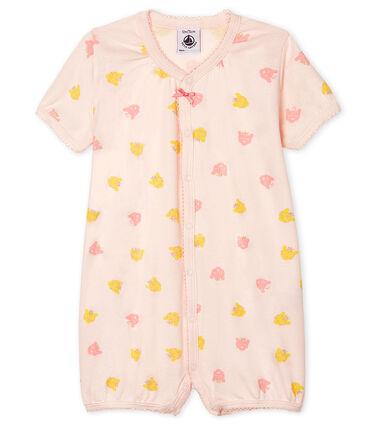 Tutina corta bebè femmina a costine rosa Fleur / bianco Multico