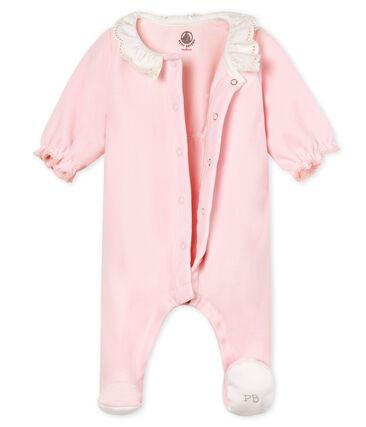 Tutina pigiama bebè femmina in velluto di cotone rosa Vienne