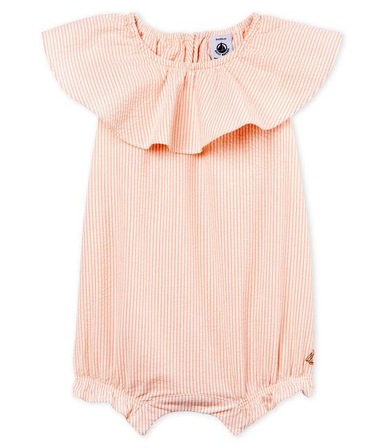 Tutina corta bambina a righe bianco Marshmallow / rosa Rosako