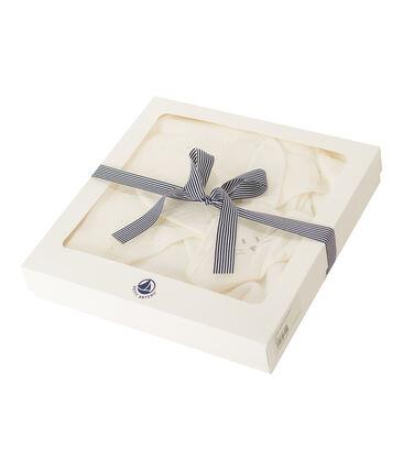 Cofanetto asciugamano quadrato da bagno e doudou bebè in BE e tubique bianco Marshmallow / bianco Multico