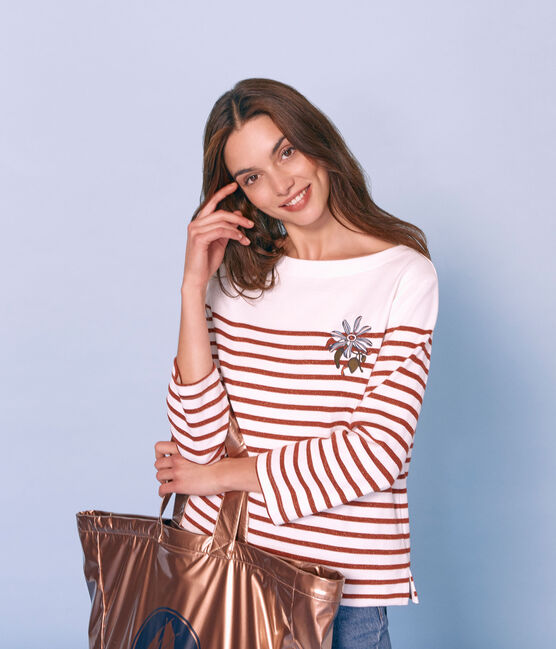 Marinière maniche lunghe donna bianco Marshmallow / rosa Copper