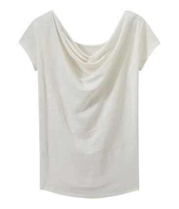 T-shirt donna con scollo ad acquasantiera sul retro in lino iridescente bianco Lait / giallo Or