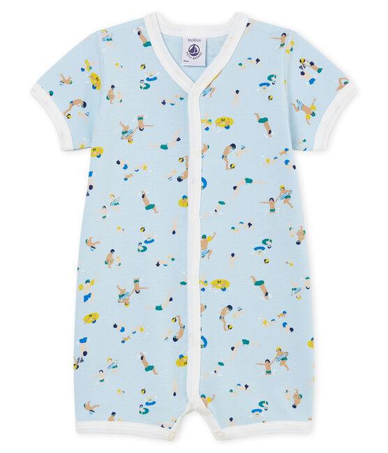 Tutina corta bebè bambino a costine blu Toudou / bianco Multico Cn