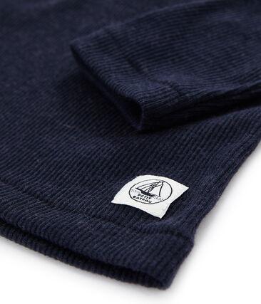 T-shirt a maniche lunghe in lana seta e cotone da bambino blu Smoking