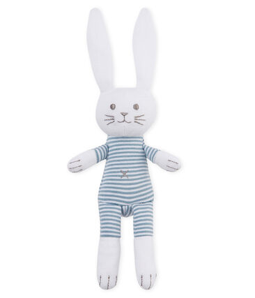 Coudou coniglietto sonaglio bebè unisex blu Fontaine / bianco Marshmallow