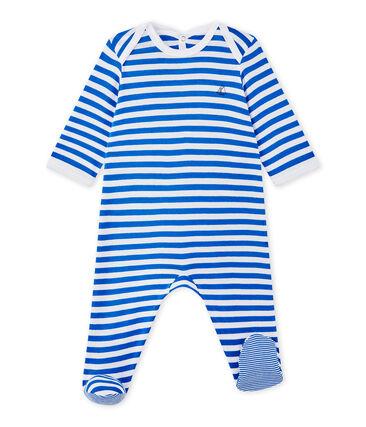 Tutina bebè bambino a righe blu Perse / bianco Ecume