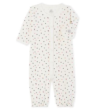 Tutina bebè a costine bianco Marshmallow / blu Smoking