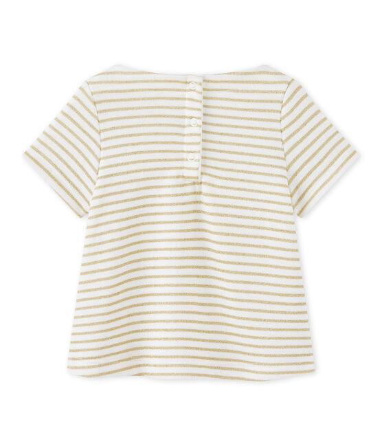 T-shirt bebé bambina rigata bianco Marshmallow / giallo Dore