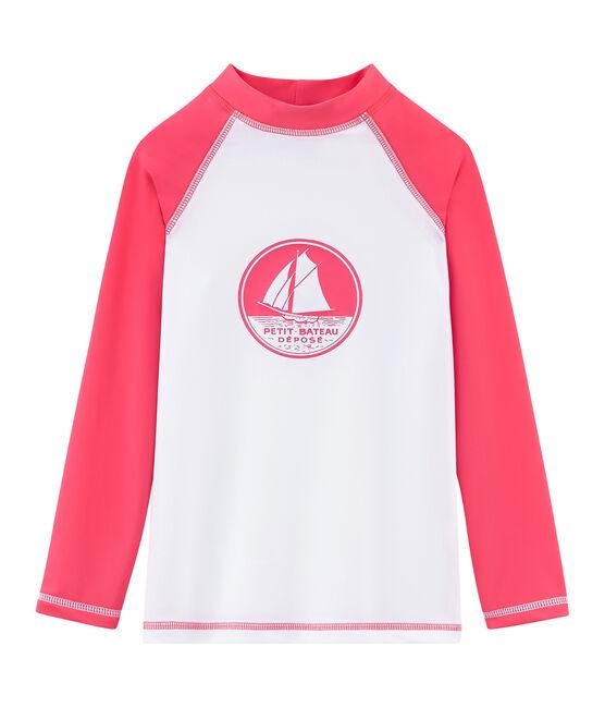 T-shirt anti-UV UPF 50+ bambina e bambino bianco Marshmallow / rosa Cupcake