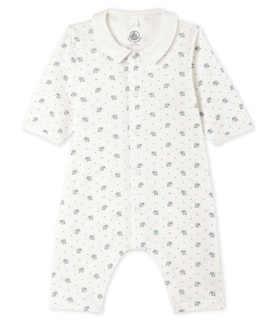 Tutina senza piedi a costine bebè bianco Marshmallow / bianco Multico