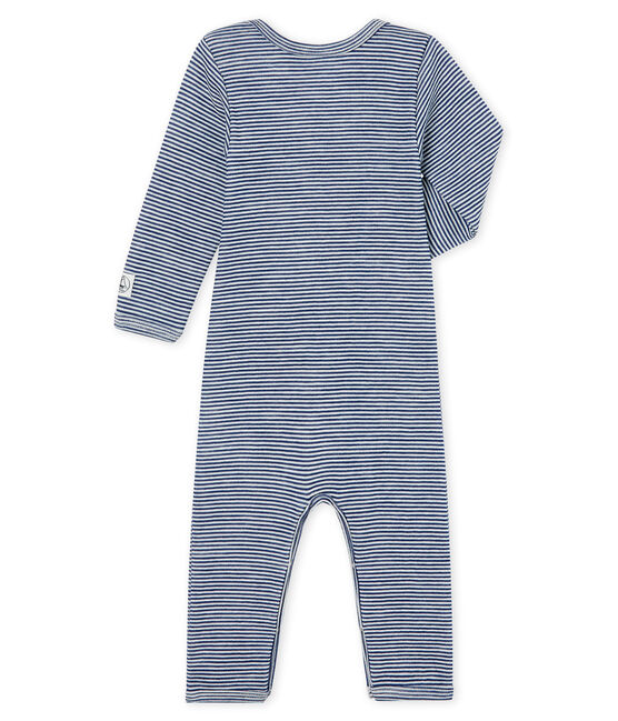 Body lungo bebè in lana e cotone blu Medieval / bianco Marshmallow