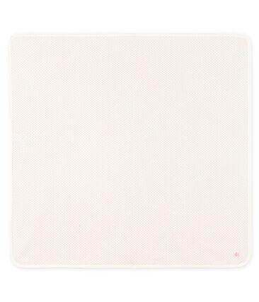 Copertina nascita bebè a costine bianco Marshmallow / rosa Charme