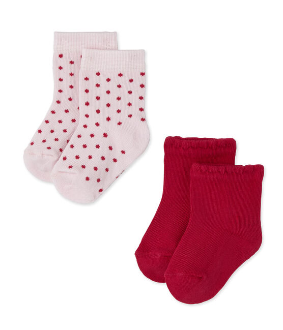 Lotto di 2 paia di calze per bebé femmina in tinta unita + a pois lotto .
