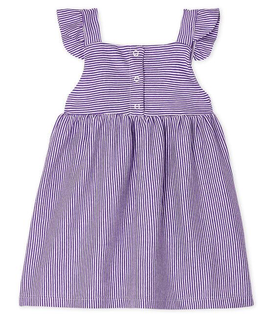 Abito millerighe bebè femmina viola Real / bianco Marshmallow