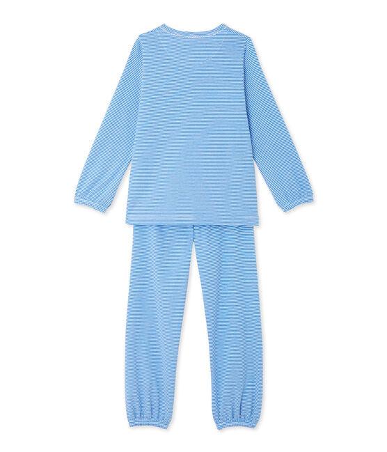 Pigiama bambina millerighe blu Delphinium / bianco Ecume