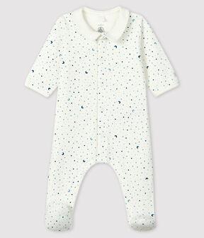 Pigiama tutina notte stellata bimbo in tessuto tubico bianco Marshmallow / bianco Multico
