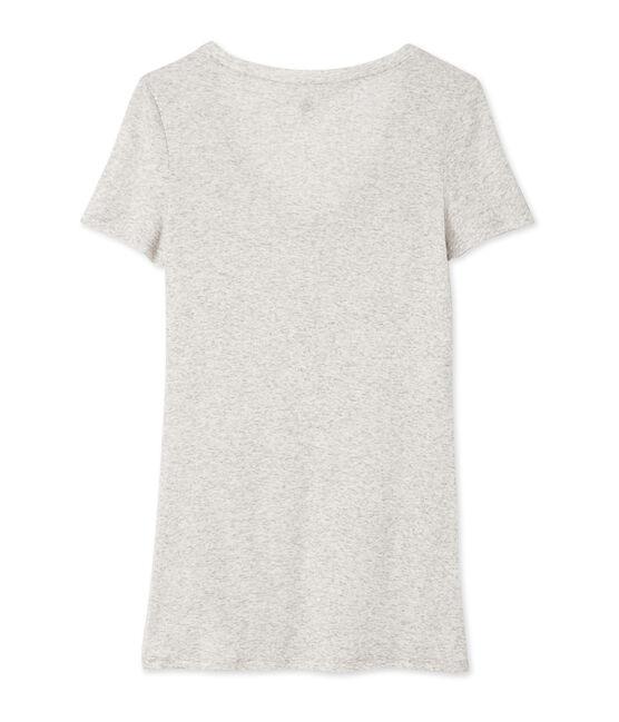 T-shirt femme col V en coton léger grigio Beluga Chine