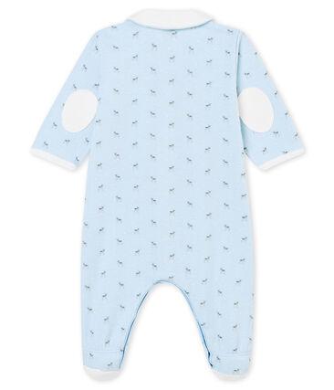 Tutina per bebé maschio in tubique stampata blu Fraicheur / bianco Multico