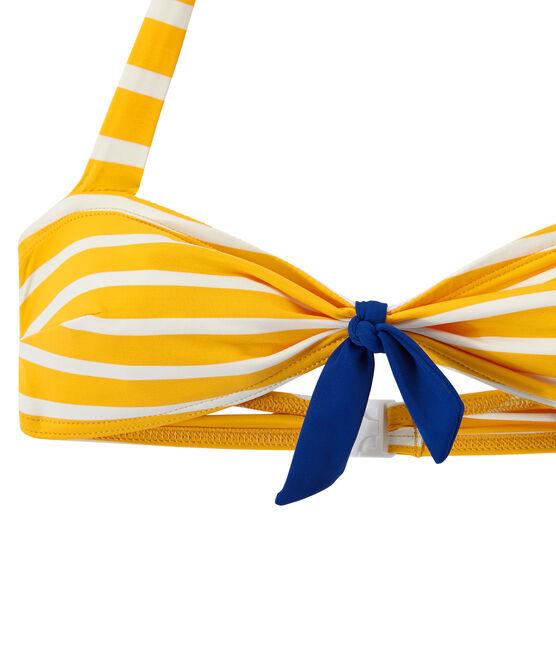 Costume da bagno donna 2 pezzi a righe arancione Fusion / bianco Marshmallow