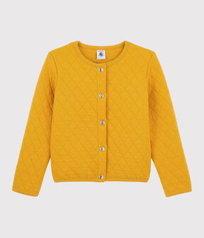 Cardigan in tubique bambina giallo Boudor