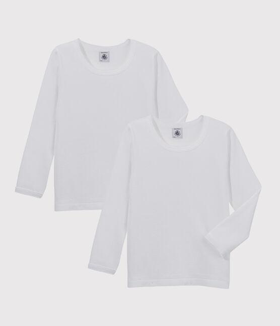Confezione da 2 t-shirt a manica lunga bianche ragazza lotto .