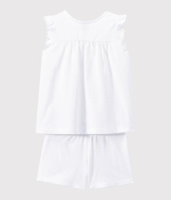 Pigiama corto ragazza in cotone sottile bianco Ecume