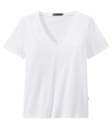 T-shirt donna con SCOLLO A V in jersey leggero bianco Ecume