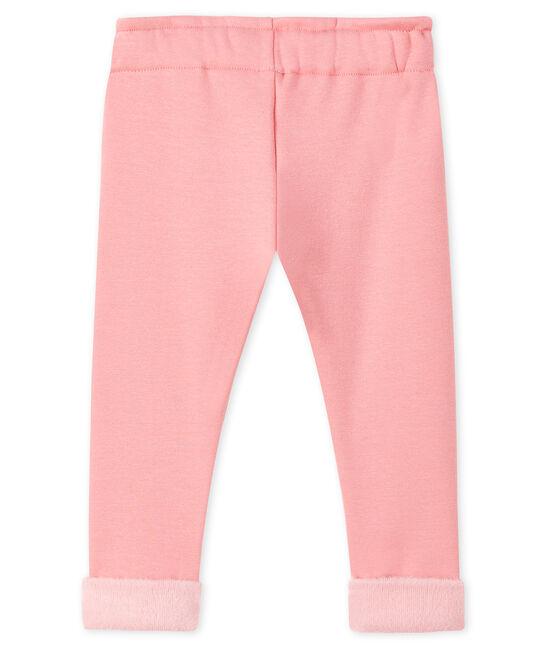 Pantalone bebè femmina in maglia di velluto rosa Charme