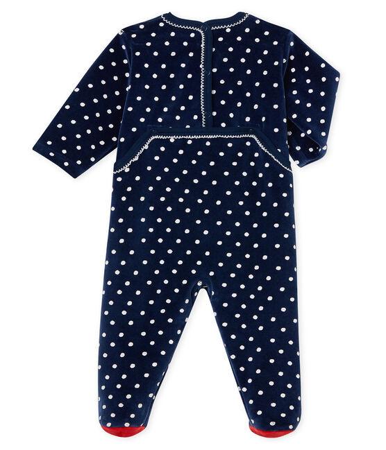 Tutina pigiama bambina in velluto blu Haddock / bianco Ecume
