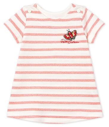 Abito a manica corta rigato bebè femmina bianco Marshmallow / rosa Joli Brillant