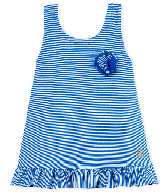 Abito senza maniche bebè femmina blu Riyadh / bianco Marshmallow